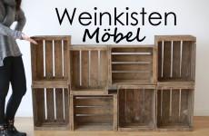 Weinkisten als Möbelstück umgebaut