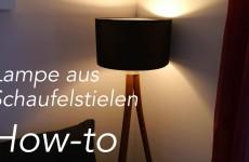 Stehlampe aus Schaufelstielen